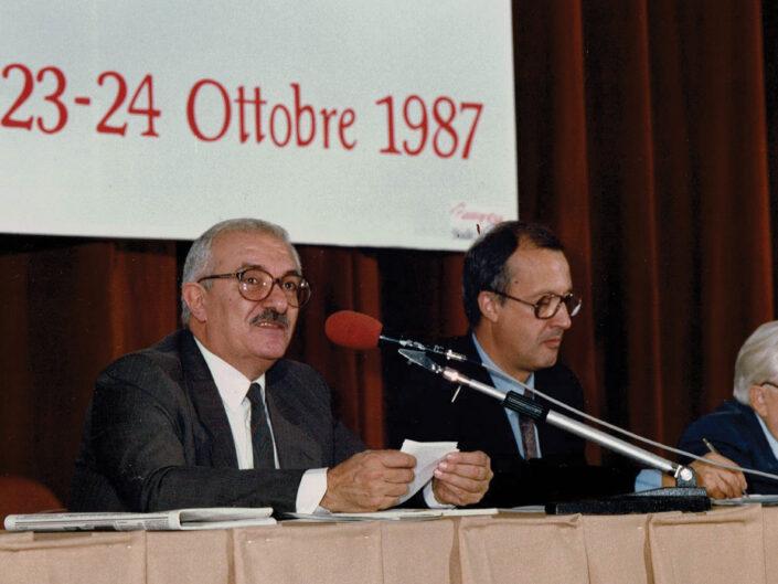 """Giuseppe Galasso, Sergio Zoppi e Carlo Muscetta al convegno """"Guido Dorso e i problemi della società meridionale"""", Avellino 22-24 ottobre 1987."""