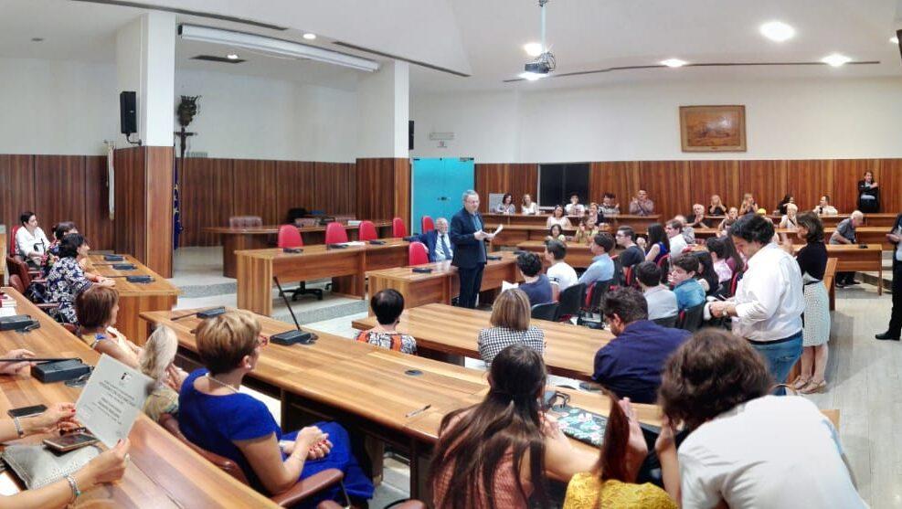 """Il pubblico alla premiazione del """"Corso avanzato per l'avvio all'istruzione superiore, alla ricerca e alle professioni"""", Avellino 8 settembre 2018."""