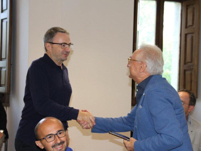 """Luigi Fiorentino ed Edgardo Pesiri alla prima edizione della Summer School """"Globalizzazione e sviluppo sostenibile"""", Castello di Gesualdo 6-7 settembre 2019."""