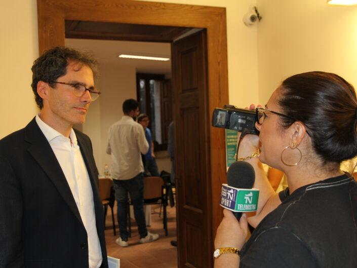 """Pier Luigi Petrillo intervistato durante la prima edizione della Summer School """"Globalizzazione e sviluppo sostenibile"""", Castello di Gesualdo 6-7 settembre 2019."""