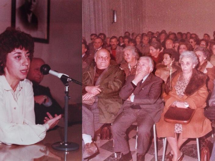 A sinistra Elisa Dorso. A destra Carlo Muscetta, inaugurazione del Centro di Ricerca Guido Dorso.
