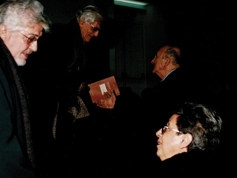 """Ettore Scola ed Elisa Dorso al convegno """"A sessant'anni dal convegno di Bari"""", Avellino 18 dicembre 2004."""